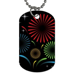 Fireworks With Star Vector Dog Tag (one Side)