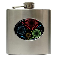 Fireworks With Star Vector Hip Flask (6 Oz)