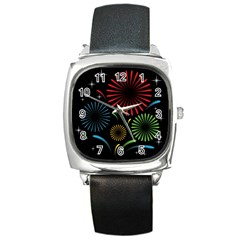 Fireworks With Star Vector Square Metal Watch