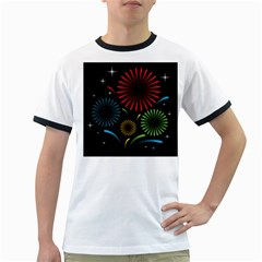 Fireworks With Star Vector Ringer T Shirts
