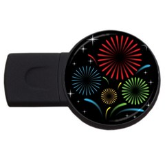 Fireworks With Star Vector Usb Flash Drive Round (4 Gb)