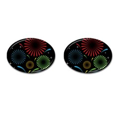Fireworks With Star Vector Cufflinks (oval)