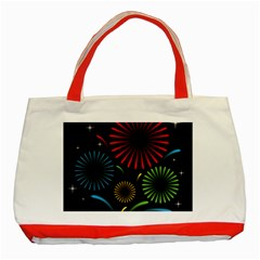 Fireworks With Star Vector Classic Tote Bag (red)