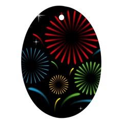 Fireworks With Star Vector Oval Ornament (two Sides)