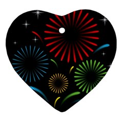 Fireworks With Star Vector Heart Ornament (two Sides)