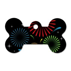 Fireworks With Star Vector Dog Tag Bone (two Sides)