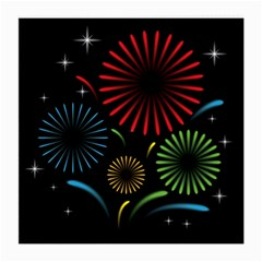 Fireworks With Star Vector Medium Glasses Cloth (2 Side)