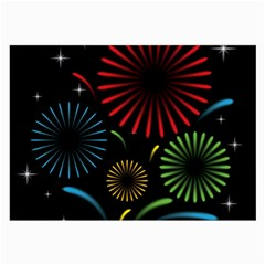 Fireworks With Star Vector Large Glasses Cloth (2 Side)