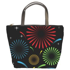 Fireworks With Star Vector Bucket Bags