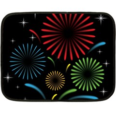 Fireworks With Star Vector Double Sided Fleece Blanket (mini)