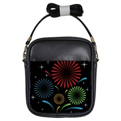 Fireworks With Star Vector Girls Sling Bags