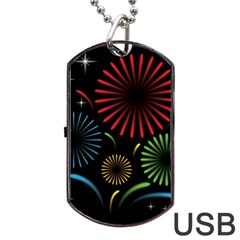 Fireworks With Star Vector Dog Tag Usb Flash (two Sides)
