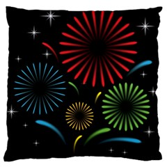 Fireworks With Star Vector Large Cushion Case (two Sides)