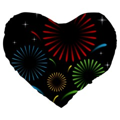 Fireworks With Star Vector Large 19  Premium Heart Shape Cushions