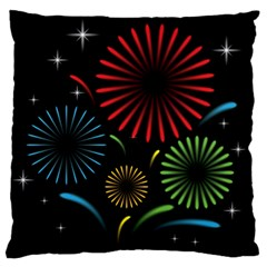 Fireworks With Star Vector Large Flano Cushion Case (one Side)