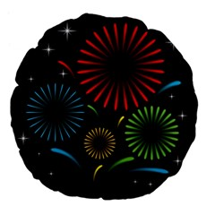 Fireworks With Star Vector Large 18  Premium Flano Round Cushions