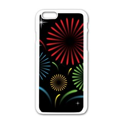 Fireworks With Star Vector Apple Iphone 6/6s White Enamel Case