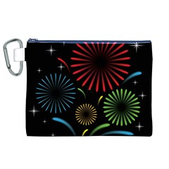 Fireworks With Star Vector Canvas Cosmetic Bag (xl)