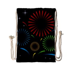 Fireworks With Star Vector Drawstring Bag (small)