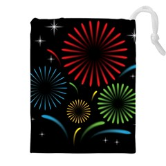 Fireworks With Star Vector Drawstring Pouches (xxl)