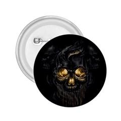 Art Fiction Black Skeletons Skull Smoke 2 25  Buttons