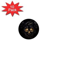 Art Fiction Black Skeletons Skull Smoke 1  Mini Magnet (10 Pack)