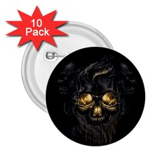 Art Fiction Black Skeletons Skull Smoke 2 25  Buttons (10 Pack)