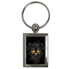 Art Fiction Black Skeletons Skull Smoke Key Chains (rectangle)