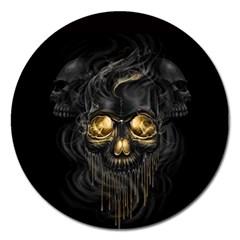 Art Fiction Black Skeletons Skull Smoke Magnet 5  (round)