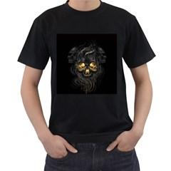 Art Fiction Black Skeletons Skull Smoke Men s T Shirt (black) (two Sided)