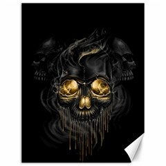 Art Fiction Black Skeletons Skull Smoke Canvas 12  X 16