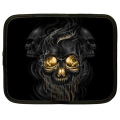 Art Fiction Black Skeletons Skull Smoke Netbook Case (xl)
