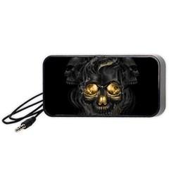 Art Fiction Black Skeletons Skull Smoke Portable Speaker (black)