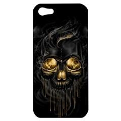 Art Fiction Black Skeletons Skull Smoke Apple Iphone 5 Hardshell Case