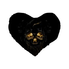 Art Fiction Black Skeletons Skull Smoke Standard 16  Premium Flano Heart Shape Cushions