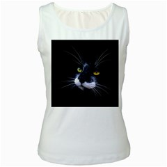 Face Black Cat Women s White Tank Top