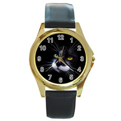 Face Black Cat Round Gold Metal Watch