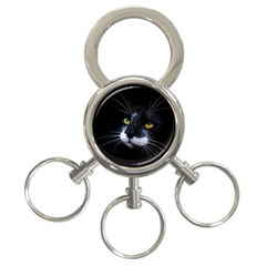 Face Black Cat 3 Ring Key Chains