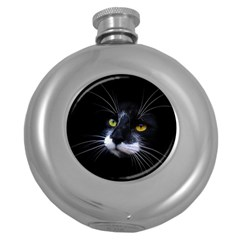 Face Black Cat Round Hip Flask (5 Oz)