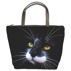 Face Black Cat Bucket Bags