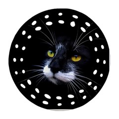 Face Black Cat Round Filigree Ornament (two Sides)
