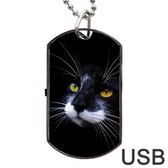 Face Black Cat Dog Tag Usb Flash (two Sides)