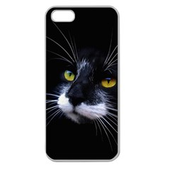 Face Black Cat Apple Seamless Iphone 5 Case (clear)