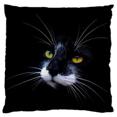 Face Black Cat Large Flano Cushion Case (two Sides)