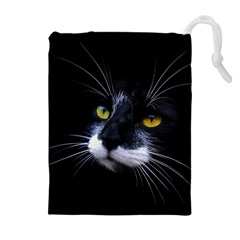 Face Black Cat Drawstring Pouches (extra Large)