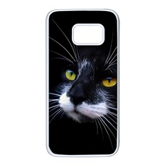 Face Black Cat Samsung Galaxy S7 White Seamless Case