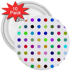 Circle Pattern 3  Buttons (10 Pack)