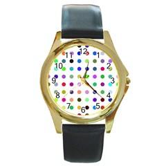 Circle Pattern Round Gold Metal Watch