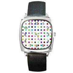 Circle Pattern Square Metal Watch