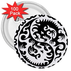 Ying Yang Tattoo 3  Buttons (100 Pack)
